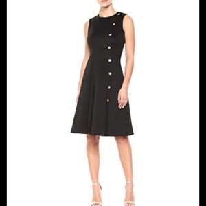 DKNY Sleeveless Dress with Button Detail